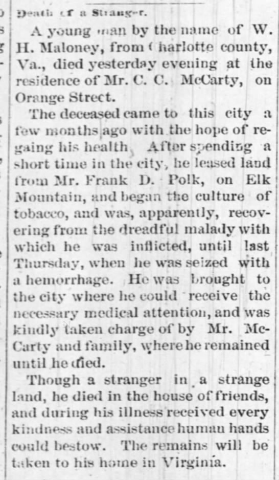 Death of W H Maloney from Charlotte Co VA at home of C C McCarty