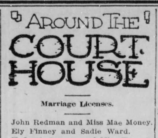 Sadie Ward Marriage to Eli Finney