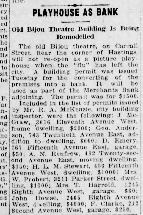Bijou theater to become a bank - didn't survive the spanish flu