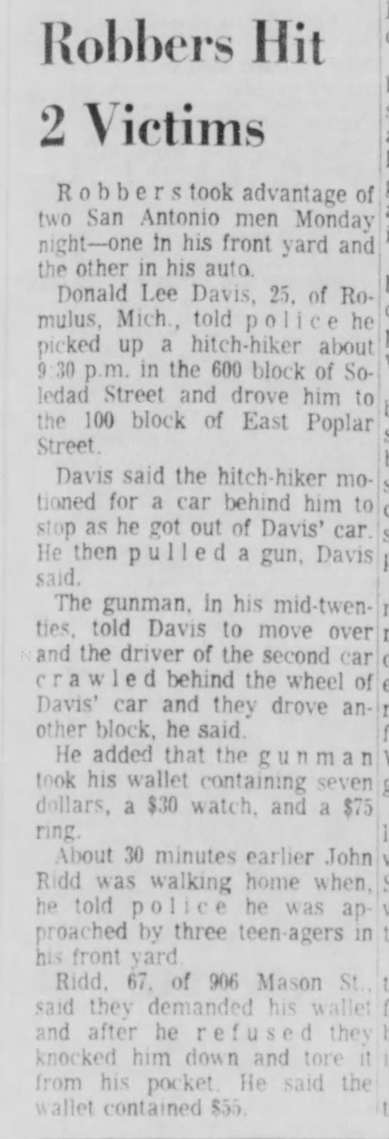 John Ridd News Article on Robbery