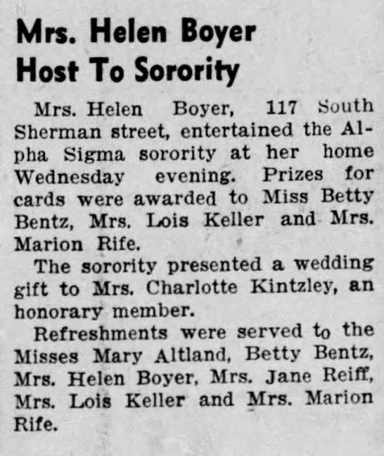 Helen Boyer hosted sorority at her home, 8 Nov 1940