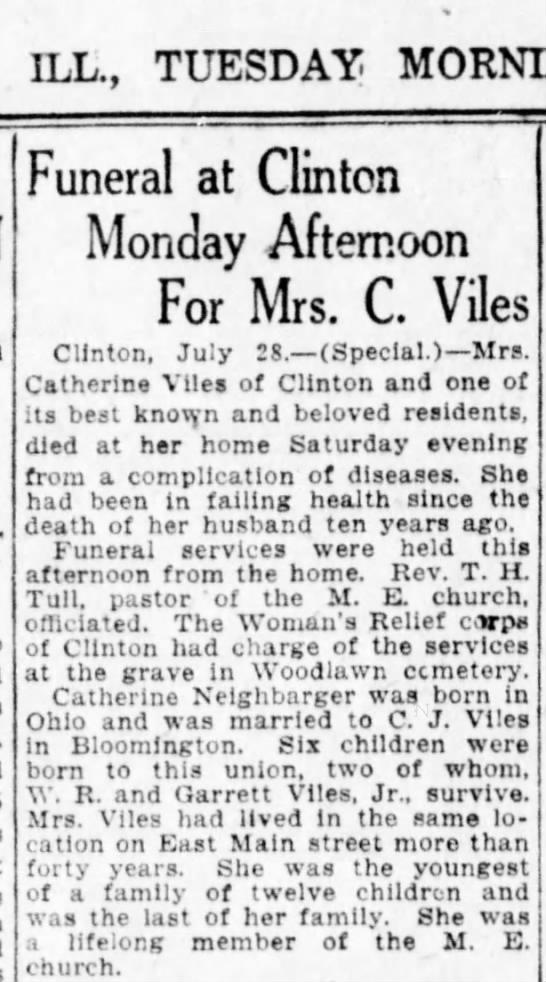 Catherine Neighbarger Viles obituary