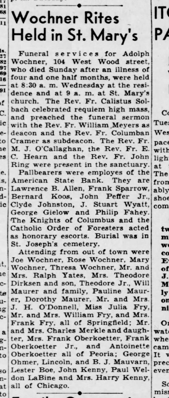 Adolph wochner obit 13 april 1938