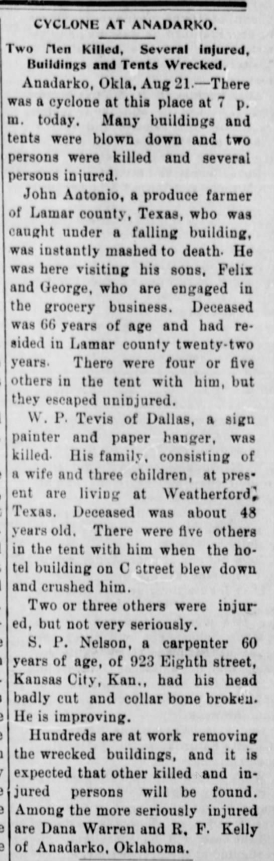 Death of William Perry Tevis in tornado at Anadarko, Oklahoma Territory Aug 22, 1901