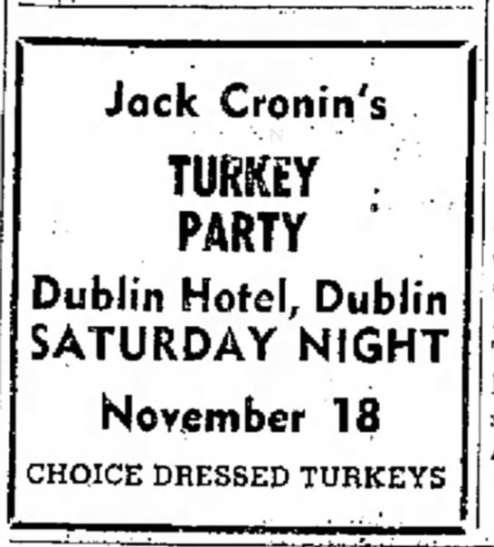 Jack Cronin's Turkey Party, November 1944