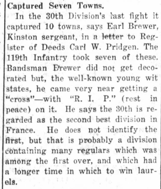 "The Kingston Free Press (Kinston, NC)   Sat., 30 Nov. 1918   Earl Brewer  ""Captured Seven Towns"""