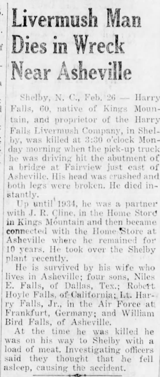 Harry Falls death notice, Feb 1952