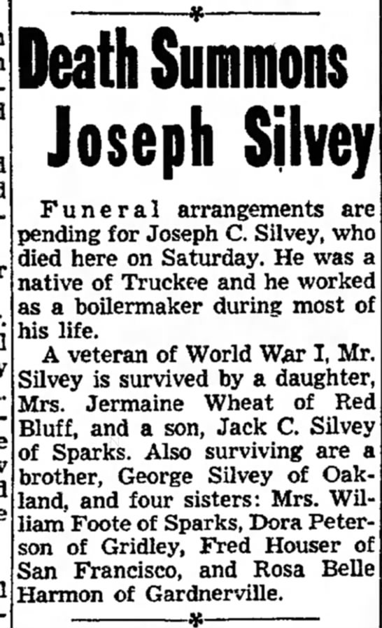 Death Summons Joseph Silvey (Sunday, 7 August 1955, page 10, column 2)
