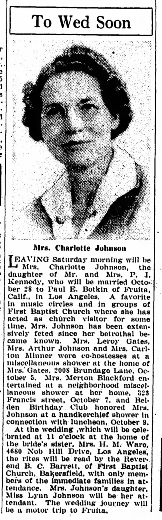 Charlotte Johnson and Paul Botkin -Bakersfield Californian, 16 Oct 1942, p6