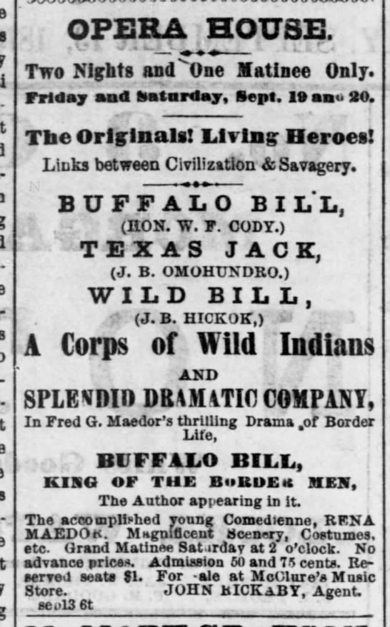 Wild Bill Hickok appears in show, 1873