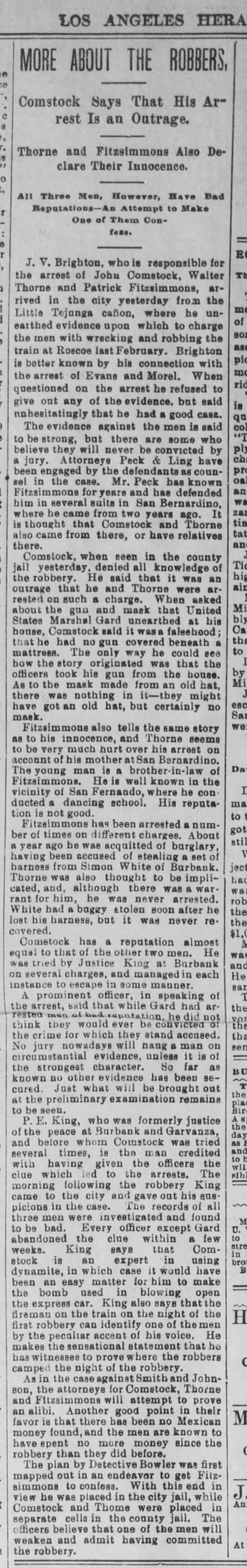 "Los Angeles 14 Apr 1894 ""MORE ABOUT THE ROBBERS"" Comstock Says That His Arrest Is an Outrage."