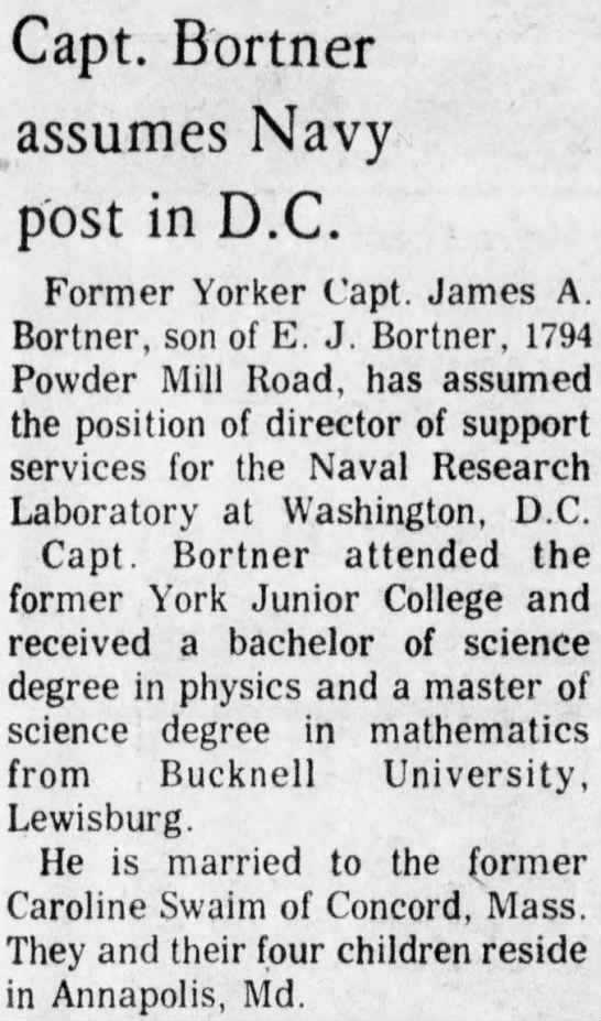 James A. Bortner director of support for the Naval Research Laboratory in D.C.