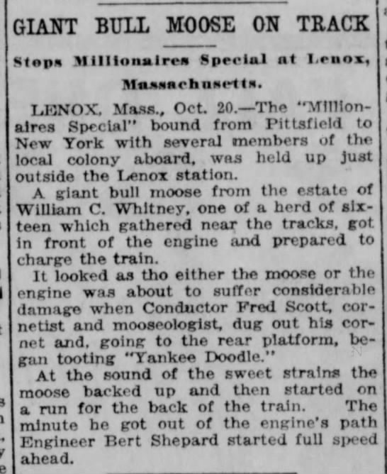Lincoln Evening Journal (Nebraska) 20 October, 1920 LENOX, MA Bull Moose on the track.....