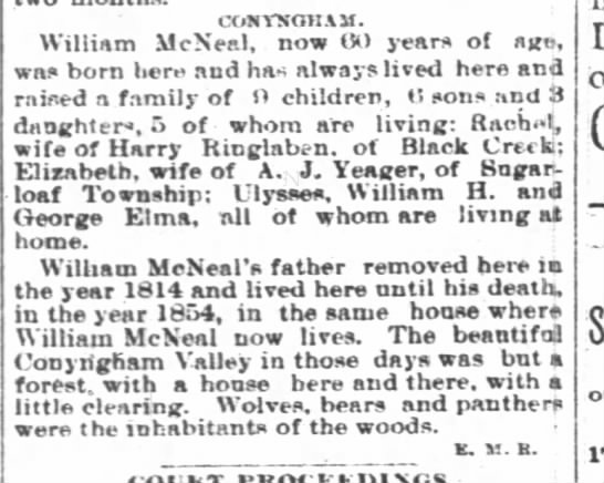 The Wilkes-Barre Record (Wilkes-Barre, Pa) 12 Nov 1886, Fri, Pg 4.  Elizabeth wife of AJYeager
