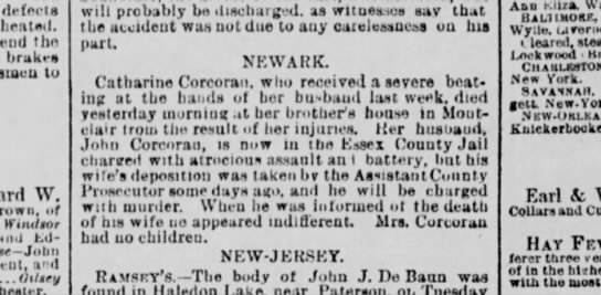 Catherine Corcoran, wife of John. died of beating from husband John 16Aug1883