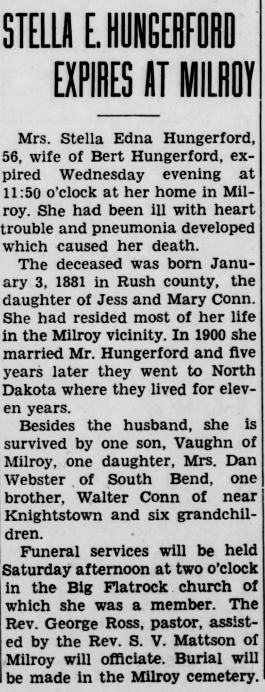 Obituary Notice - Stella Edna Hungerford.  Rushville Republican (Rushville, IN) 4 Mar 1937, Page 1