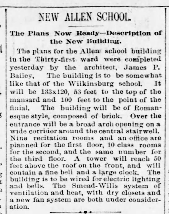18910121-New Allen School Thirty First Ward Plans ready