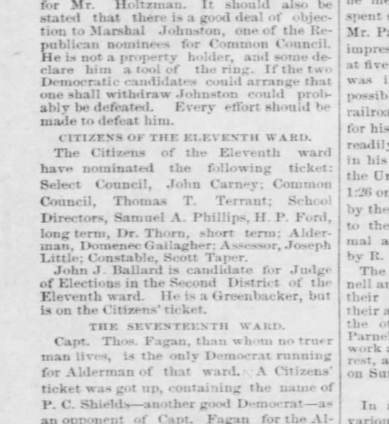Taper Scott - nominated for constable of Eleventh Ward - Pgh Post 14 Feb 1880 p4