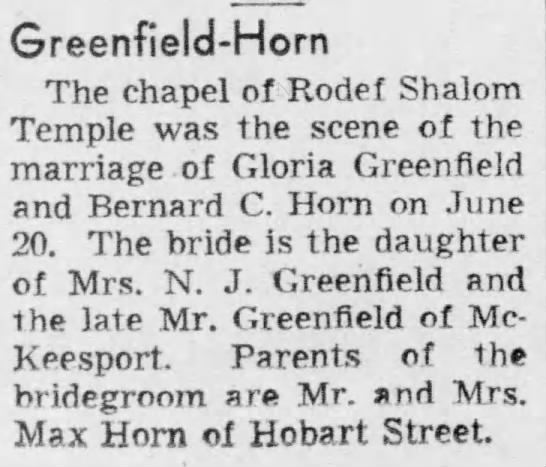 Greenfield-Horn Wedding Announcenent in Pittsburgh Post-Gazette on 04 Aug 1954