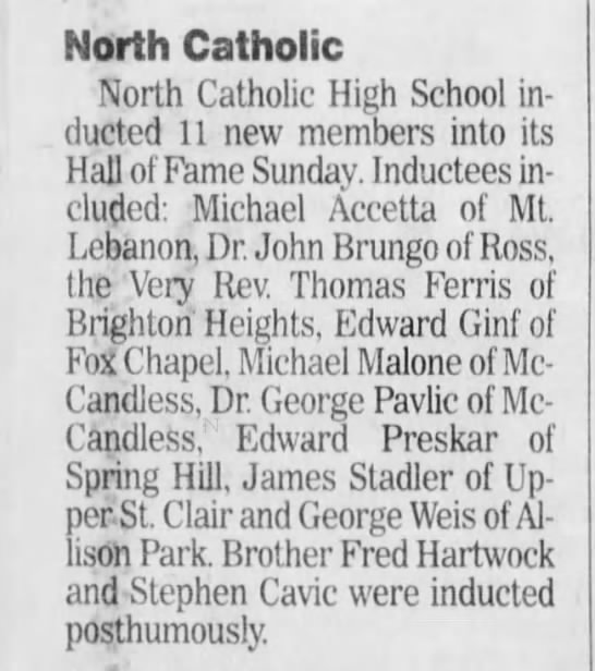 2000 November Dr. Michael Accetta North Catholic Hall of Fame