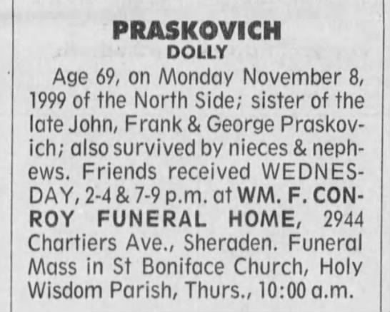 Dolly Praskovich death notice dated 10 Nov 1999.