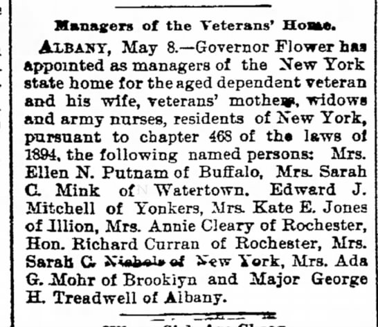 Major George Hooker Treadwell Manager of Veteran Home