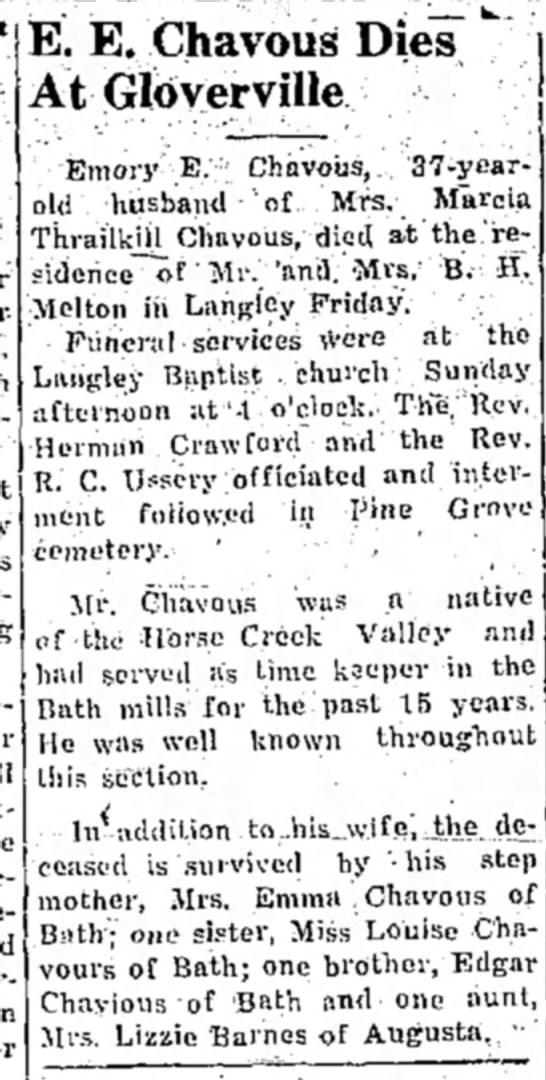 Emory E Chavous Obit - 12 Aug 1942 Aiken SC