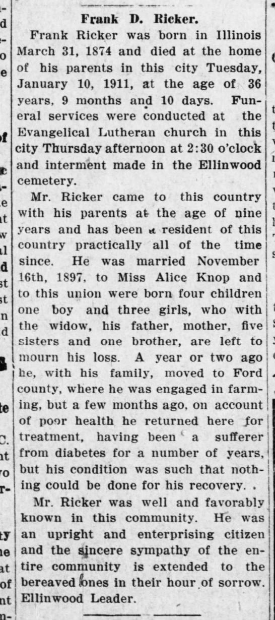 Ricker, Frank - obit - Great Bend Tribune - 18 Jan 1911, Wed - pg 1