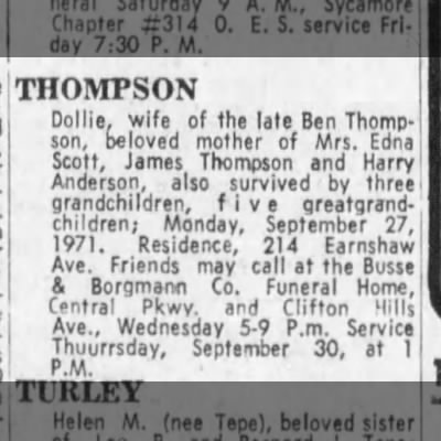 Dollie Thompson Obituary