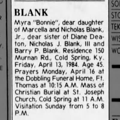 "Obituary - BLANK, Myra ""Bonnie"" (1938-1984)"