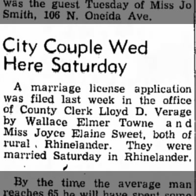 Wally and Dixie marriage license Sept 1952