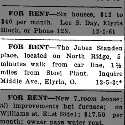 Standen, Jabez N Rdge home for rent, 1906