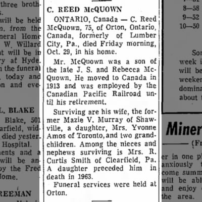 Obituary, C R McQuown