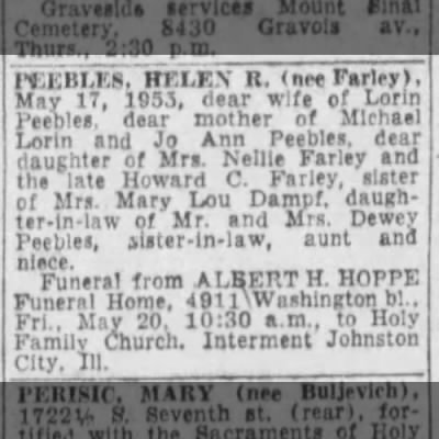 Helen R Peebles Death and Burial