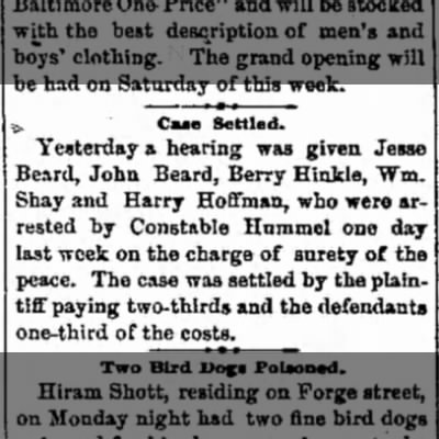 Jesse (Jessiah) Beard, John Beard - arrested for surety of the peace