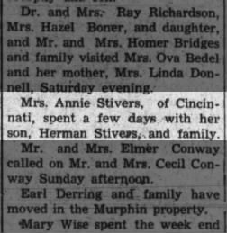 Annie Stivers of Cincinnati visits, The Tribune, Seymour, Indiana, 19 May 1944, pg 3