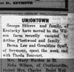 George Stivers moved from ky, The Tribune, Seymour, Indiana, 02 March 1933, pg 3