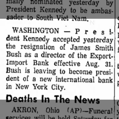 James Smith Bush-President of bank-Daily Reporter, Dover, OH-p.13-25 July 1963