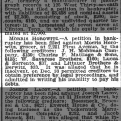 Morris Horowitz bankruptcy as grocer 23 Dec 1903 in NY Times