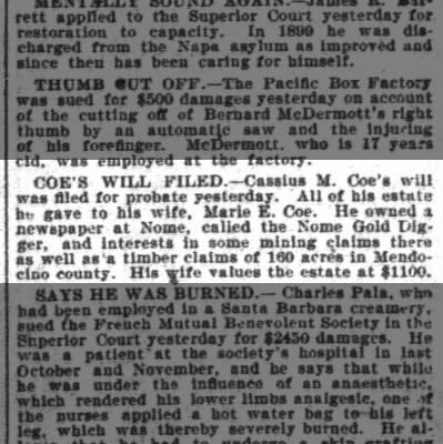 San Fran Chronicle, 13 Feb 1902