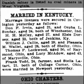 William and Pleassia Callin married in KY