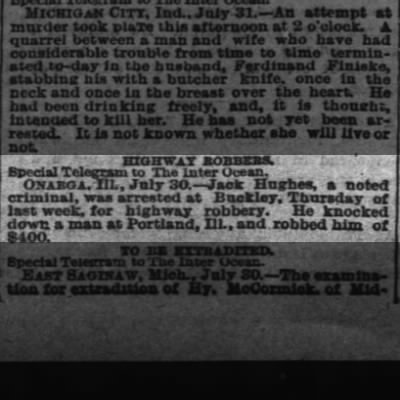 Jack Hughes arrested for highway robberyInter Ocean (Chicago, IL)1 August 1881