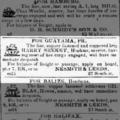 Guayama trade vessel to sail April 1840