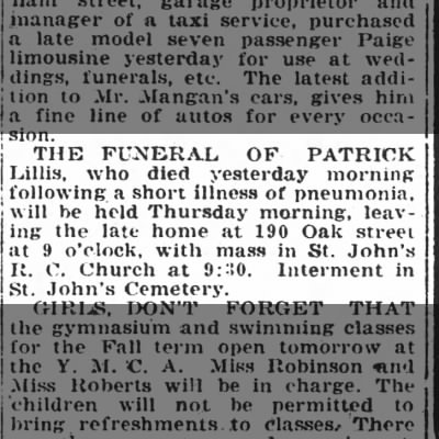 Patrick Lillis funeral notice, 12 Oct 1920, Pittston Gazette