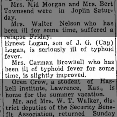 Ernest and Carmen ill from typhoid fever - Jun 1930
