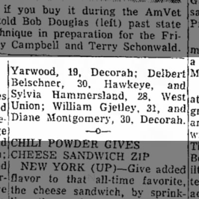 1956 Diane Marriage LicenseMason City Globe Gazette 8.21.1956