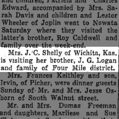Lulu Shelly visits her brother Cap Logan - Sept 1934