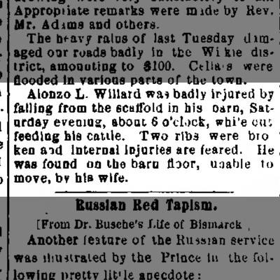 Alonzo injured on Dec. 14, 1878