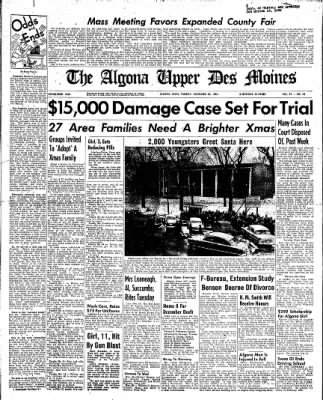 The Algona Upper Des Moines from Algona, Iowa on November 30, 1954 · Page 1