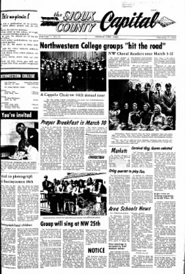 The Sioux County Capital from Orange City, Iowa on February 17, 1972 · Page 1